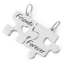"Load image into Gallery viewer, Sterling Silver ""Friend Forever"" Jigsaw Puzzle Pendant"