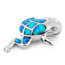 Load image into Gallery viewer, Sterling Silver Frog Blue Lab Opal Pendant