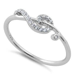 Sterling Silver Treble Clef Musical Note CZ Ring
