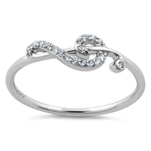 Load image into Gallery viewer, Sterling Silver Treble Clef Musical Note CZ Ring
