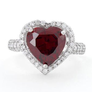 Sterling Silver Garnet Heart Halo CZ Ring