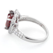 Load image into Gallery viewer, Sterling Silver Garnet Heart Halo CZ Ring