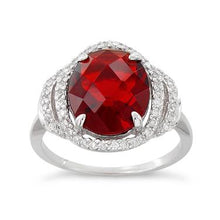 Load image into Gallery viewer, Sterling Silver Garnet Oval Halo CZ Ring