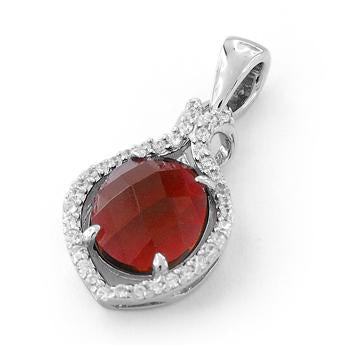 Sterling Silver Garnet Oval Marquise CZ Pendant