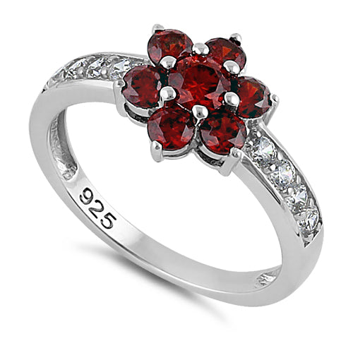 Sterling Silver Garnet Plumeria Flower CZ Ring