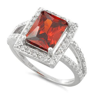 Sterling Silver Garnet Rectangular Halo CZ Ring