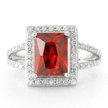 Load image into Gallery viewer, Sterling Silver Garnet Rectangular Halo CZ Ring