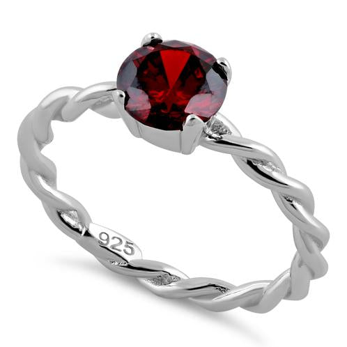 Sterling Silver Garnet Twisted Band CZ Ring