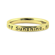 "Load image into Gallery viewer, Sterling Silver Gold Plated ""You Are My Sunshine, My Only Sunshine"" Ring"