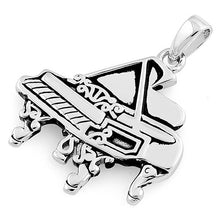 Load image into Gallery viewer, Sterling Silver Grand Piano Pendant