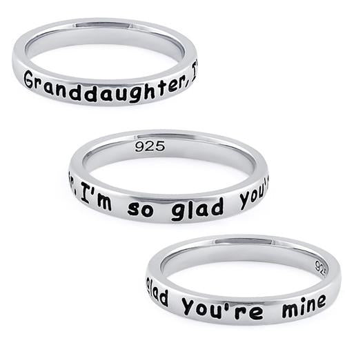 "Sterling Silver ""Granddaughter, I'm so glad you're mine"" Ring"