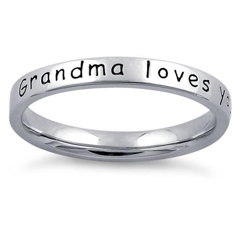 "Sterling Silver ""Grandma Loves You With All Her Heart"" Ring"