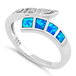 Sterling Silver Greek 4 Square Blue Lab Opal Ring