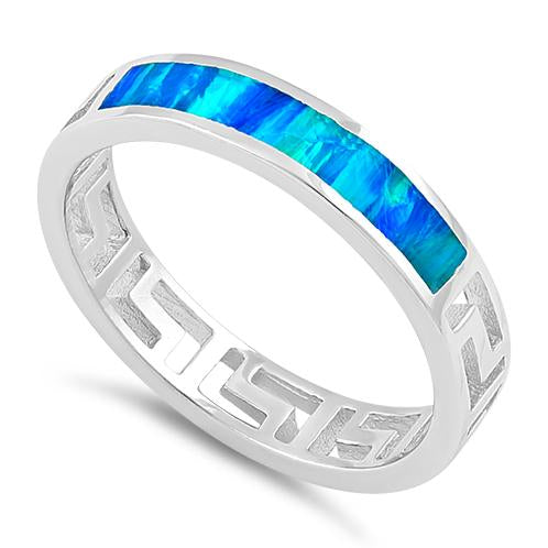 Sterling Silver Greek Blue Lab Opal Band Ring