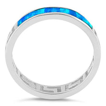 Load image into Gallery viewer, Sterling Silver Greek Blue Lab Opal Band Ring