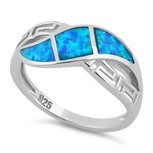 Load image into Gallery viewer, Sterling Silver Greek Pattern Blue Lab Opal Ring