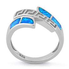 Load image into Gallery viewer, Sterling Silver Greek Pattern Lab Opal Ring