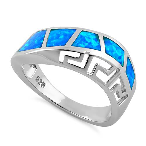 Sterling Silver Greek Pattern Lab Opal Ring