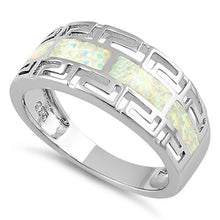 Load image into Gallery viewer, Sterling Silver Greek Pattern White Lab Opal Ring
