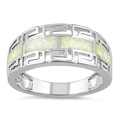 Sterling Silver Greek Pattern White Lab Opal Ring
