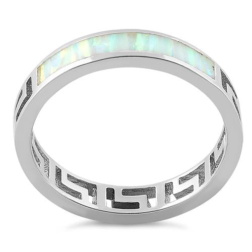 Sterling Silver Greek White Lab Opal Band Ring