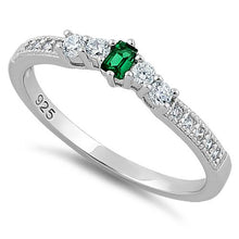 Load image into Gallery viewer, Sterling Silver Emerald CZ Ring