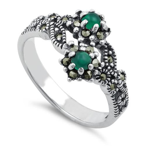 Sterling Silver Green Agate Double Flower Marcasite Ring