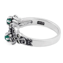 Load image into Gallery viewer, Sterling Silver Green Agate Double Flower Marcasite Ring