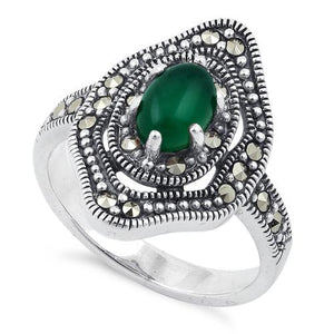 Sterling Silver Green Agate Eye Marcasite Ring