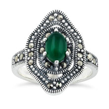 Load image into Gallery viewer, Sterling Silver Green Agate Eye Marcasite Ring
