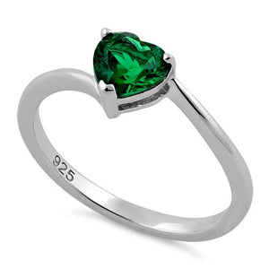 Sterling Silver Green Heart CZ Ring