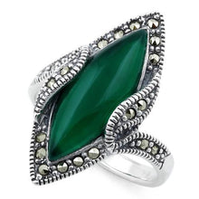 Load image into Gallery viewer, Sterling Silver Green Agate Marquise Marcasite Ring