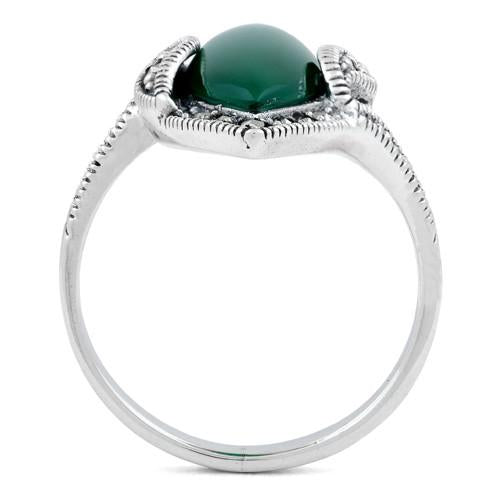 Sterling Silver Green Agate Marquise Marcasite Ring