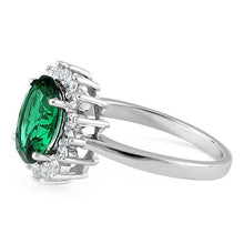 Load image into Gallery viewer, Sterling Silver Green Oval CZ Ring