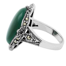Load image into Gallery viewer, Sterling Silver Oval Green Agate Marcasite Ring