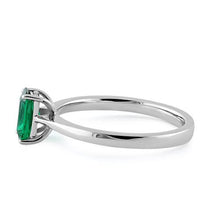 Load image into Gallery viewer, Sterling Silver Emerald Radiant Cut CZ Ring