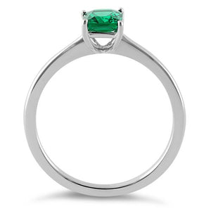 Sterling Silver Emerald Radiant Cut CZ Ring