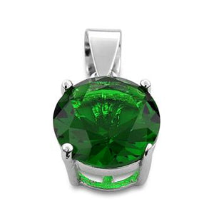 Sterling Silver Green Round CZ 10mm Pendant