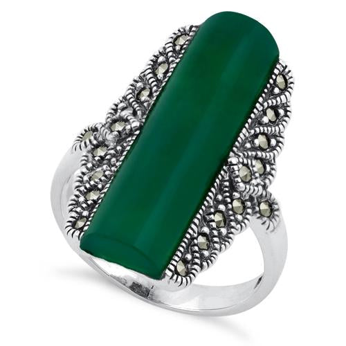 Sterling Silver Green Agate Tall Marcasite Ring
