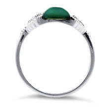 Load image into Gallery viewer, Sterling Silver Green Agate Tall Marcasite Ring