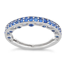 Load image into Gallery viewer, Sterling Silver Half Eternity Blue Sapphire CZ Ring