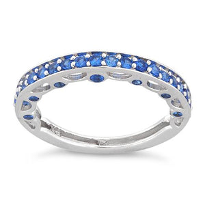Sterling Silver Half Eternity Blue Sapphire CZ Ring