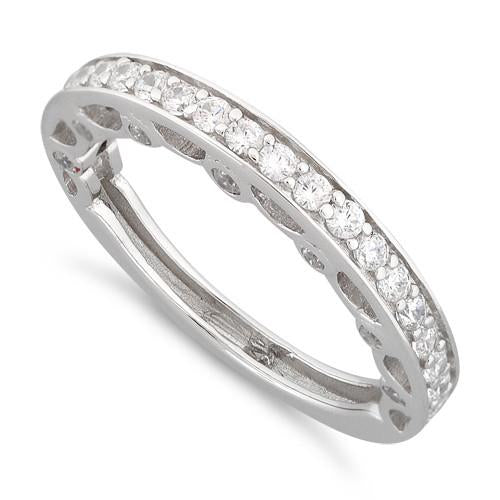 Sterling Silver Half Eternity Clear CZ Ring