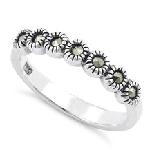 Load image into Gallery viewer, Sterling Silver Half Eternity Round Marcasite Ring