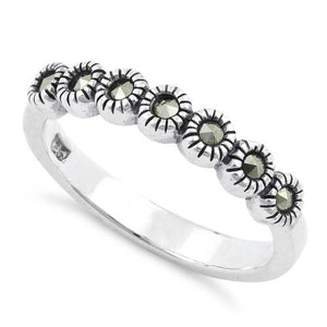 Sterling Silver Half Eternity Round Marcasite Ring