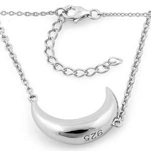 Sterling Silver Half Moon Necklace