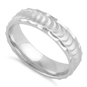 Sterling Silver Half Moon Wedding Band Ring