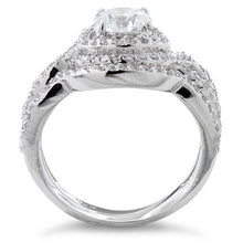 Load image into Gallery viewer, Sterling Silver Halo CZ Wedding Set Ring