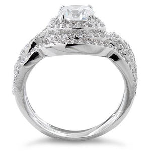 Sterling Silver Halo CZ Wedding Set Ring