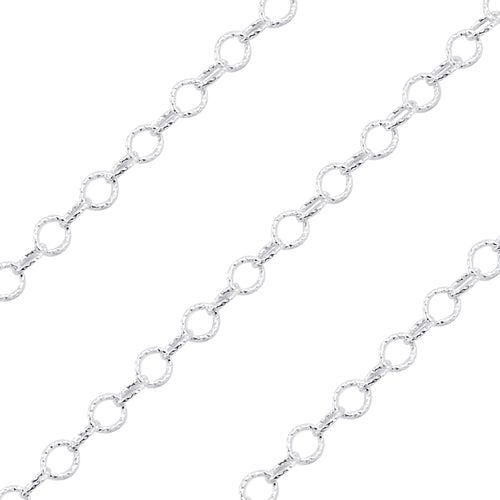 Sterling Silver Hammered Cable Chain 5.0mm (sold by the foot)